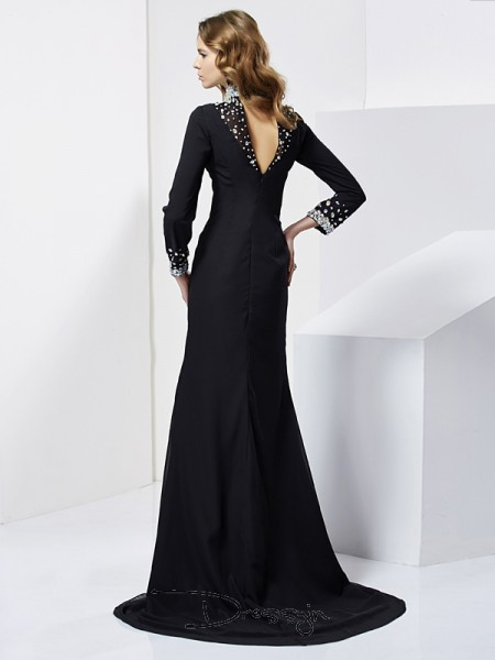 Sheath/Column Long Sleeves High Neck Rhinestone Chiffon Long Dress