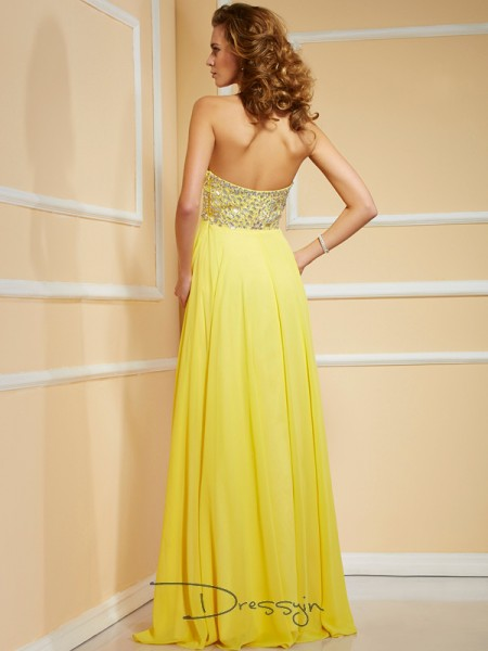 Sheath/Column Sleeveless Sweetheart Ruffles Rhinestone Ruched Chiffon Floor-Length Dress