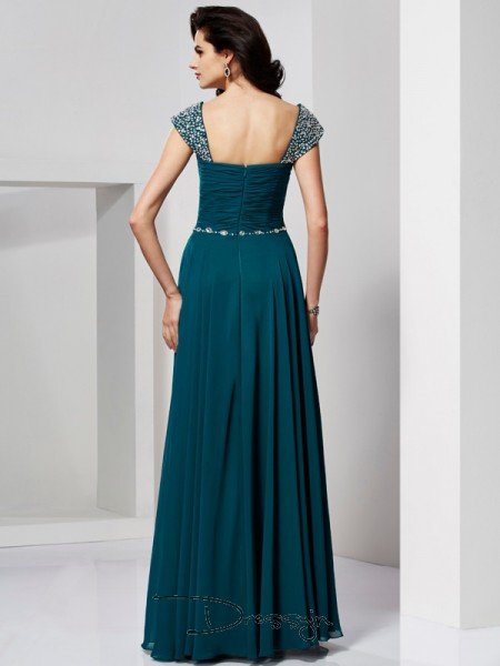 A-Line/Princess Sleeveless Sweetheart Off-the-Shoulder Beading Chiffon Floor-Length Dress