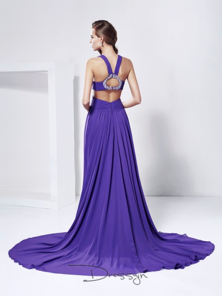 A-Line/Princess Sleeveless V-neck Rhinestone Chiffon Long Dress