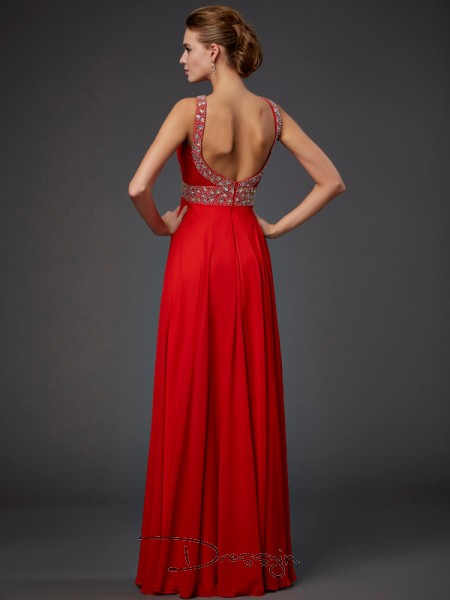 Sheath/Column Sleeveless Halter Beading Sequin Chiffon Floor-Length Dress