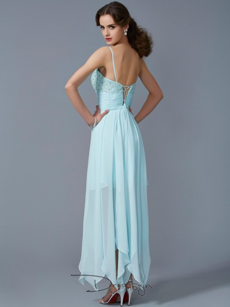 A-Line/Princess Sleeveless Spaghetti Straps Beading Chiffon Asymmetrical Dress