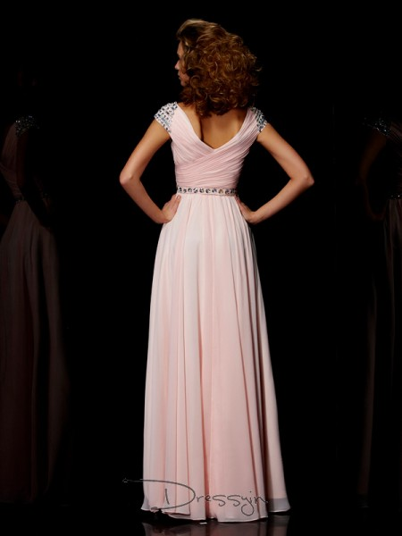 A-Line/Princess Short Sleeves V-neck Ruffles Chiffon Floor-Length Dress
