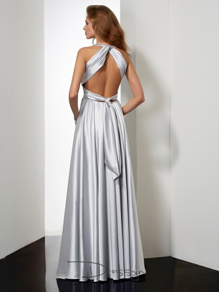Sheath/Column Sleeveless Halter Pleats Elastic Woven Satin Floor-Length Dress