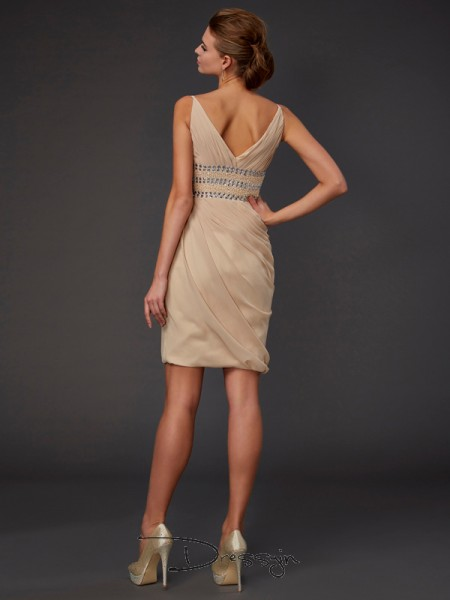 Sheath/Column Sleeveless V-neck Beading Chiffon Short Dress