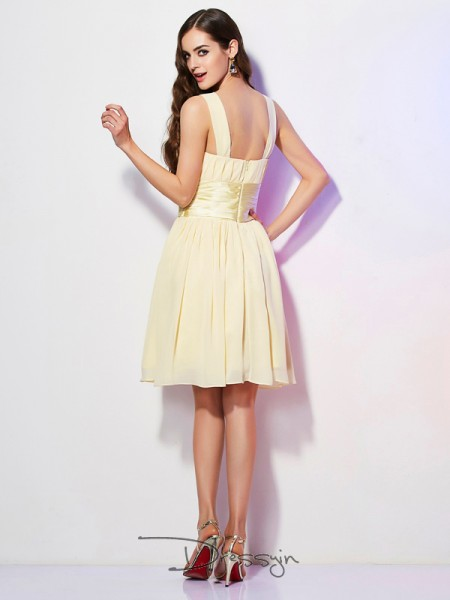 A-Line/Princess Sleeveless Straps Pleats Chiffon Short Dress