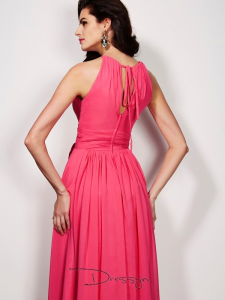 A-Line/Princess Sleeveless High Neck Pleats Sash/Ribbon/Belt Chiffon Floor-Length Dress