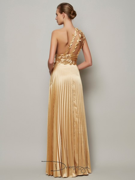 A-Line/Princess Sleeveless One-Shoulder Hand-Made Flower Elastic Woven Satin Floor-Length Dress