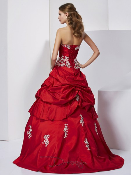 Ball Gown Sleeveless Sweetheart Beading Applique Taffeta Floor-Length Dress
