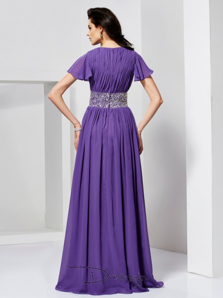A-Line/Princess Short Sleeves V-neck Beading Chiffon Floor-Length Dress