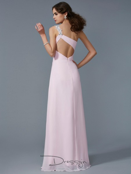 A-Line/Princess Sleeveless One-Shoulder Beading Applique Chiffon Floor-Length Dress