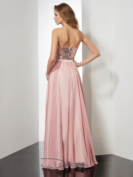 A-Line/Princess Sleeveless Strapless Paillette Chiffon Floor-Length Dress