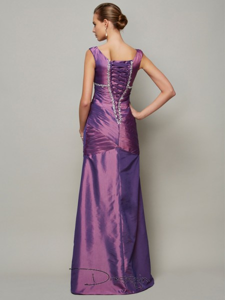 Sheath/Column Sleeveless V-neck Beading Taffeta Floor-Length Dress