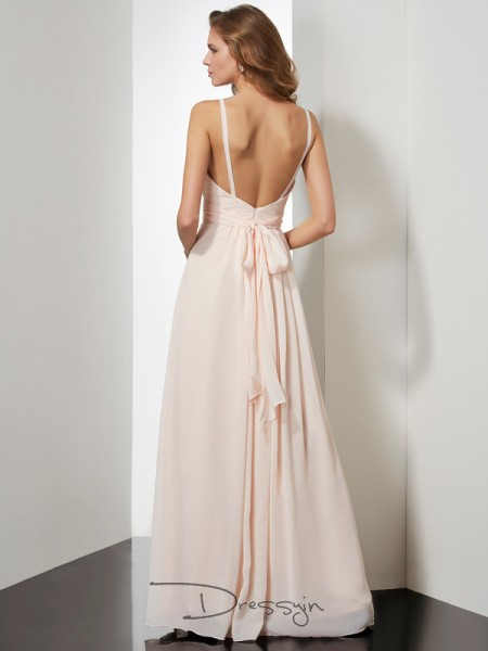 Sheath/Column Sleeveless Spaghetti Straps Ruffles Chiffon Floor-Length Dress
