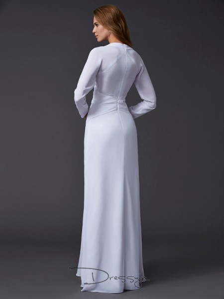 Sheath/Column Long Sleeves V-neck Ruched Chiffon Floor-Length Dress
