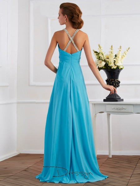 Empire Sleeveless Halter Beading Chiffon Floor-Length Dress