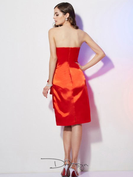 Sheath/Column Sleeveless Strapless Pleats Elastic Woven Satin Short Dress