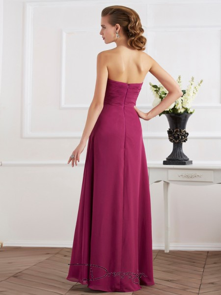 Sheath/Column Sleeveless Sweetheart Chiffon Floor-Length Dress