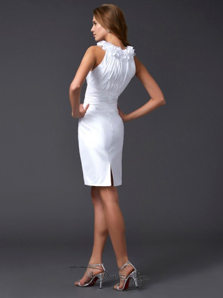 Sheath/Column Sleeveless High Neck Hand-Made Flower Taffeta Short Dress