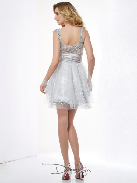 A-Line/Princess Sleeveless Straps Beading Elastic Woven Satin Net Short Dress