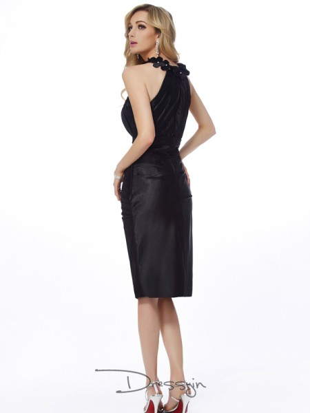 Sheath/Column Sleeveless Bateau Applique Elastic Woven Satin Knee-Length Dress