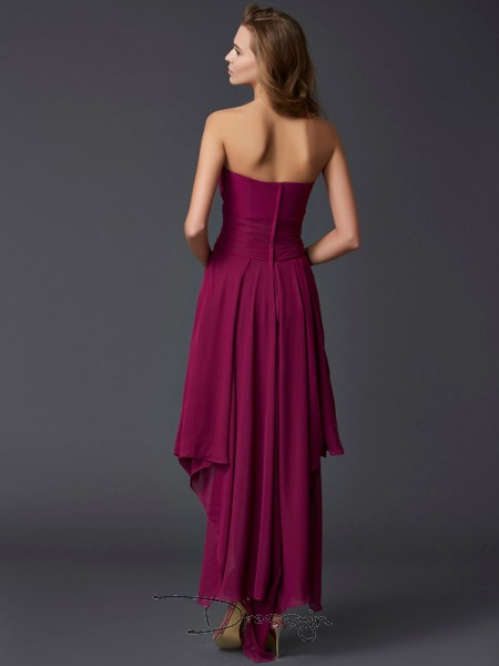 A-Line/Princess Sleeveless Sweetheart Pleats Chiffon Asymmetrical Dress