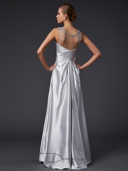 A-Line/Princess Sleeveless V-neck Beading Elastic Woven Satin Floor-Length Dress