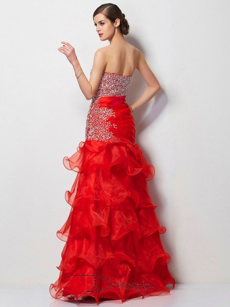 Trumpet/Mermaid Sleeveless Sweetheart Beading Tulle Floor-Length Dress