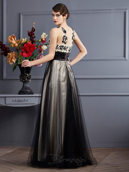 A-Line/Princess Sleeveless Scoop Net Silk like Satin Floor-Length Dress