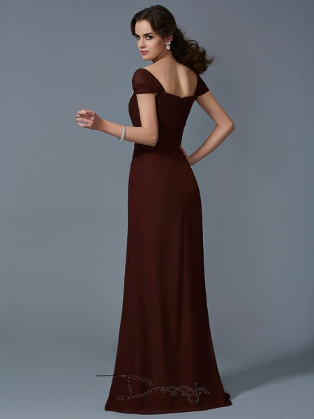 A-Line/Princess Short Sleeves Strapless Chiffon Taffeta Floor-Length Dress
