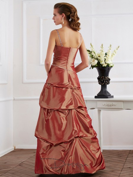 Sheath/Column Sleeveless Spaghetti Straps Beading Taffeta Floor-Length Dress