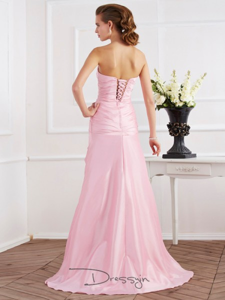 Trumpet/Mermaid Sleeveless Strapless Beading Taffeta Long Dress