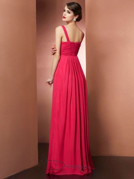 A-Line/Princess Sleeveless Off-the-Shoulder Beading Chiffon Floor-Length Dress