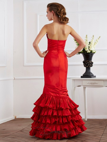 Trumpet/Mermaid Sleeveless Sweetheart Ruffles Taffeta Floor-Length Dress