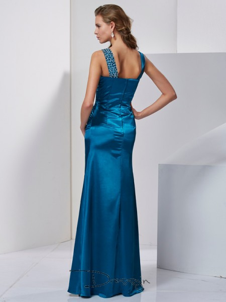 Sheath/Column Sleeveless Straps Beading Silk like Satin Floor-Length Dress