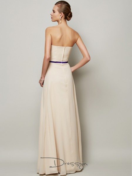 A-Line/Princess Sleeveless Strapless Sash/Ribbon/Belt Chiffon Floor-Length Dress