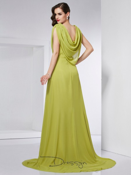A-Line/Princess Sleeveless High Neck Pleats Chiffon Long Dress