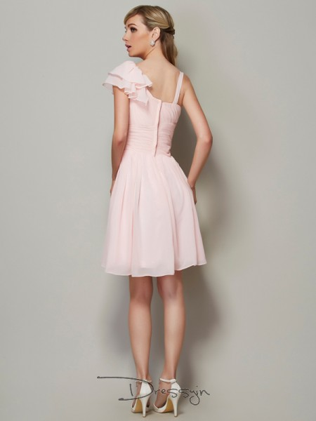 A-Line/Princess Sleeveless Straps Pleats Chiffon Short Bridesmaid Dress