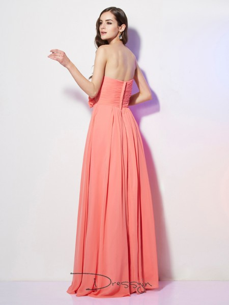 A-Line/Princess Sleeveless Sweetheart Hand-Made Flower Chiffon Floor-Length Dress
