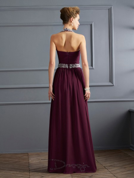 Sheath/Column Sleeveless Halter Beading Chiffon Floor-Length Dress