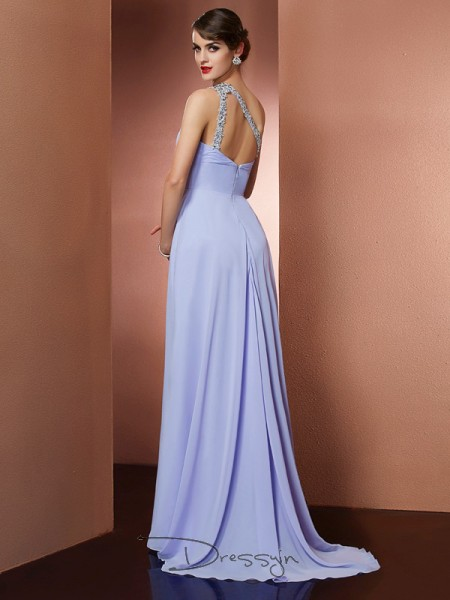 A-Line/Princess Sleeveless One-Shoulder Beading Applique Chiffon Long Dress