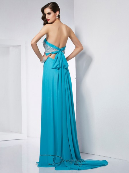A-Line/Princess Sleeveless Sweetheart Chiffon Floor-Length Dress