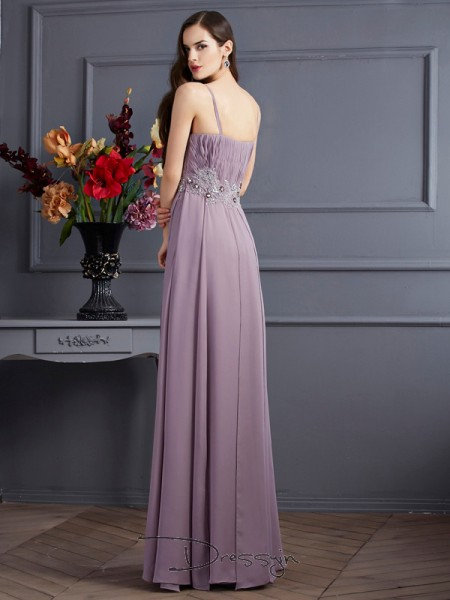 Empire Sleeveless Spaghetti Straps Beading Chiffon Floor-Length Dress