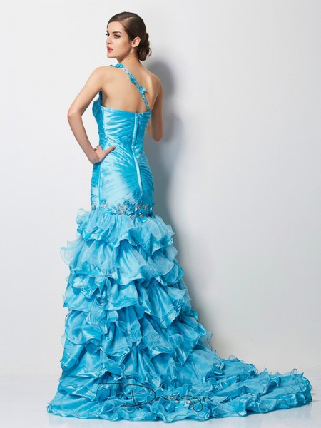 Trumpet/Mermaid Sleeveless One-Shoulder Beading Taffeta Asymmetrical Dress