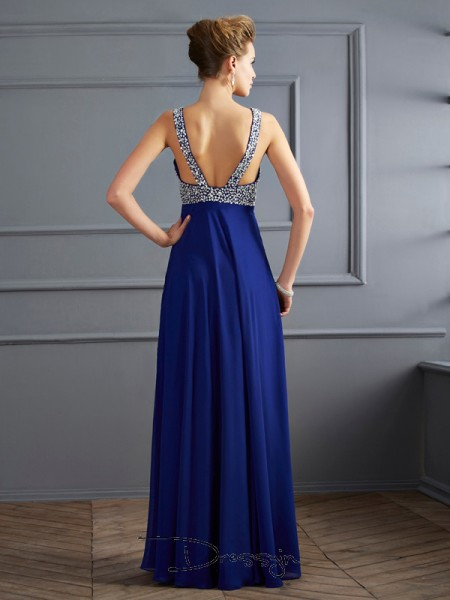 Sheath/Column Sleeveless Straps Beading Chiffon Floor-Length Dress
