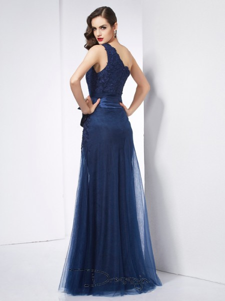 A-Line/Princess Sleeveless One-Shoulder Applique Net Organza Satin Floor-Length Dress