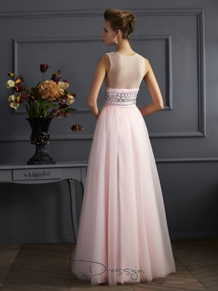 Ball Gown Sleeveless V-neck Beading Net Floor-Length Dress