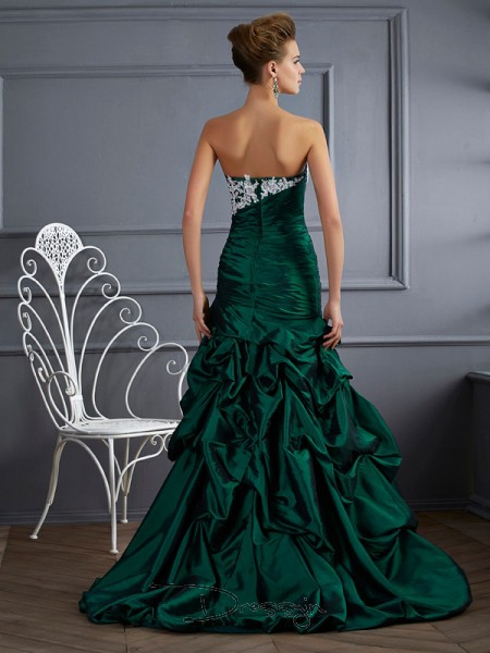 Ball Gown Sleeveless Strapless Applique Taffeta Long Dress