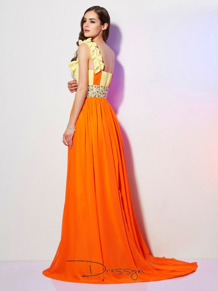 A-Line/Princess Sleeveless One-Shoulder Beading Chiffon Long Dress