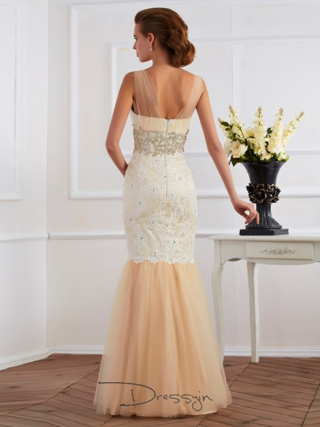 Trumpet/Mermaid Sleeveless Straps Beading Net Lace Floor-Length Dress
